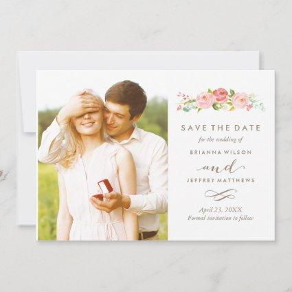 Rose Garden Floral Save The Date Photo Card