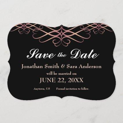 Rose Gold and Black, Elegant Save the Date