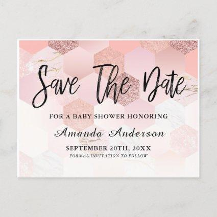Rose Gold Baby Shower Save The Date Announcement