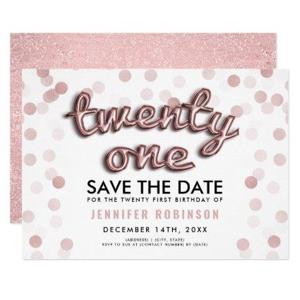 Rose Gold Balloons Glitter 21st Birthday Invitation