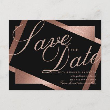 Rose Gold Black SAVE the DATE Wedding Geometric Announcement