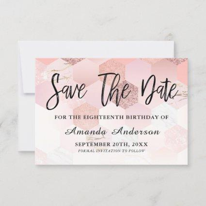 Rose Gold Brush Script 18th Birthday Save The Date