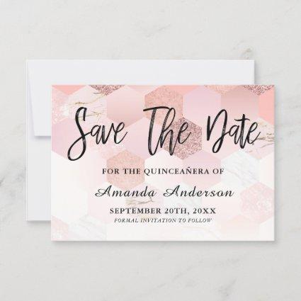 Rose Gold Brush Script  Quinceanera Save The Date