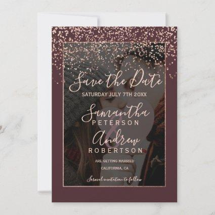 Rose gold burgundy save the date photo wedding