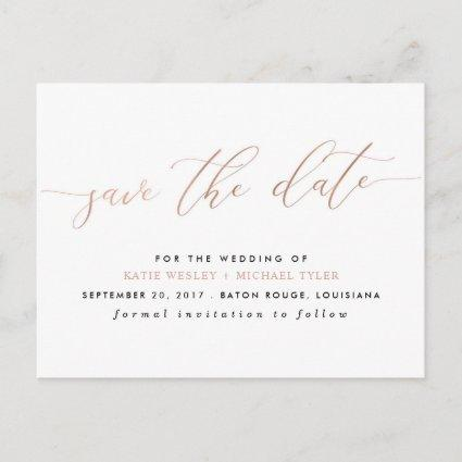 Rose Gold Calligraphy Modern Save the Date Announcement