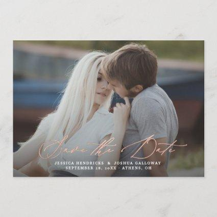 Rose Gold Calligraphy Overlay Photo Save the Date Invitation