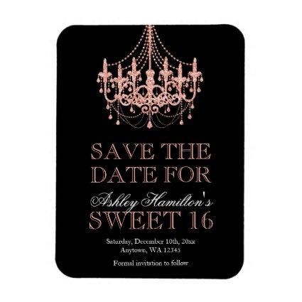 Rose Gold Chandelier Sweet 16 Save the Date Magnet