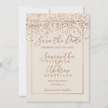 Rose gold confetti ivory save the date wedding