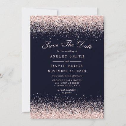 Rose Gold Confetti Navy Blue Modern Save The Date