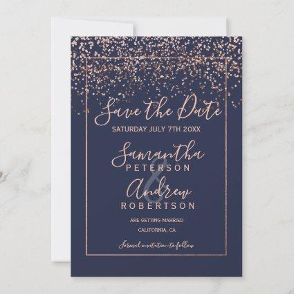 Rose gold confetti navy blue save the date wedding
