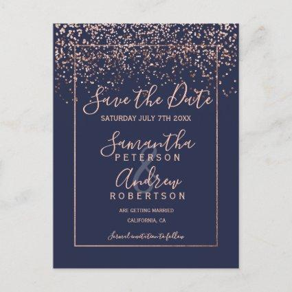 Rose gold confetti navy blue script save the date Announcements Cards