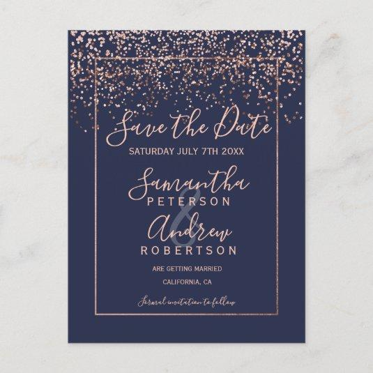 Rose gold confetti navy blue script save the date announcement