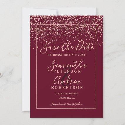 Rose gold confetti red burgundy save the date
