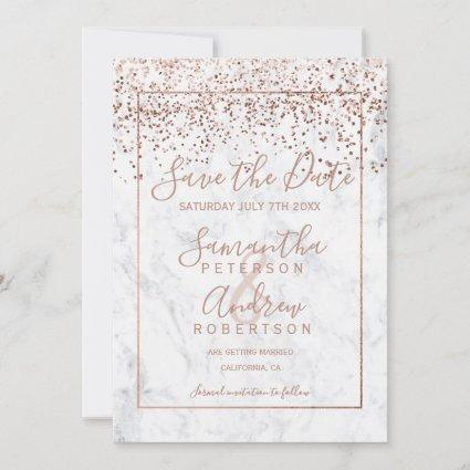 Rose gold confetti white marble save the date