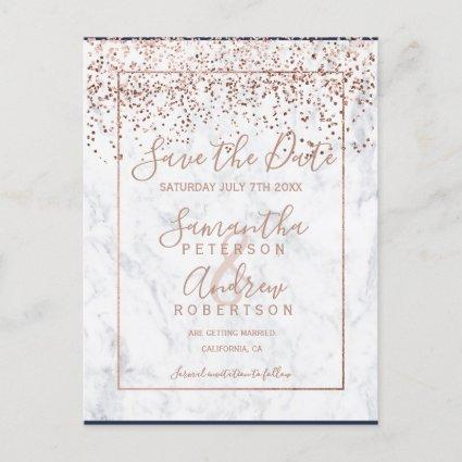 Rose gold confetti white marble save the date announcement