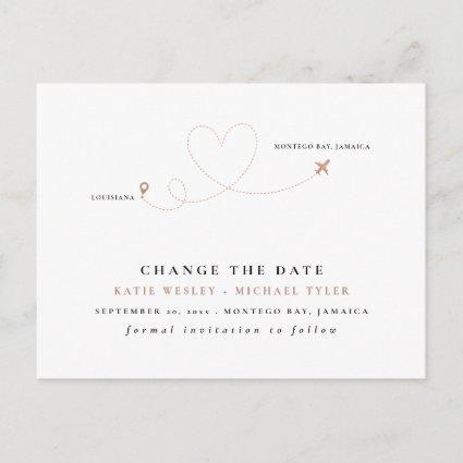 Rose Gold Destination Wedding Change the Date Announcement