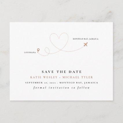 Rose Gold Destination Wedding Save the Date Announcement