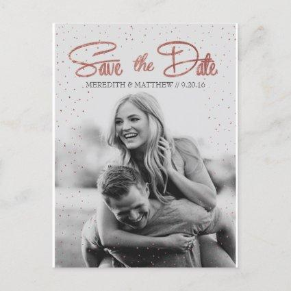 Rose Gold Faux Foil Save the Date Cards