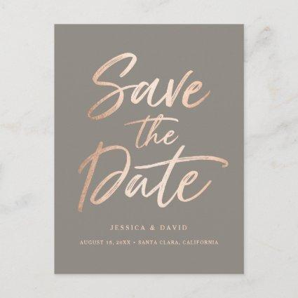 Rose Gold Faux Foil Script Announcements Cards