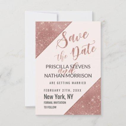 Rose Gold Faux Sparkling Glitter Sequin Save Date Save The Date