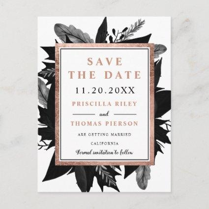 Rose Gold floral black watercolor save the date Announcement