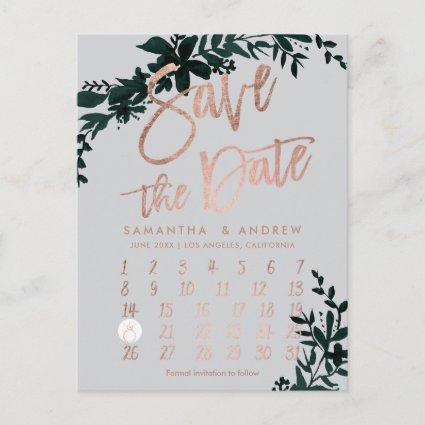 Rose gold floral green grey calendar save the date announcement