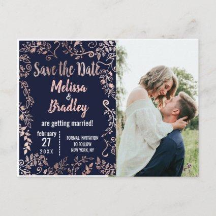 Rose Gold Floral Navy Blue Brush Script Save Date Announcement