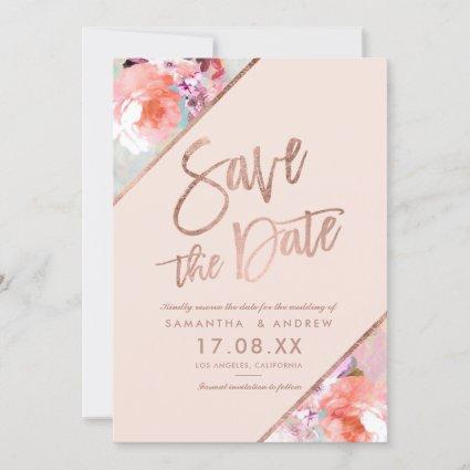 Rose gold floral script blush pink save the date