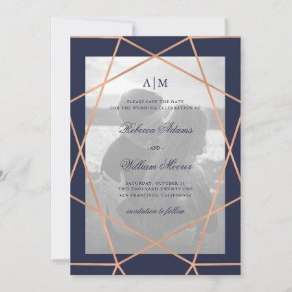 Rose Gold Geometric and Midnight Blue | Photo Save The Date