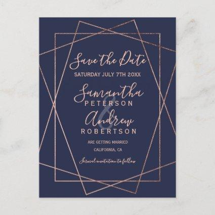 Rose gold geometric navy blue script save the date announcement