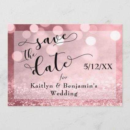 Rose Gold Glitter Bokeh & Typography Save the Date