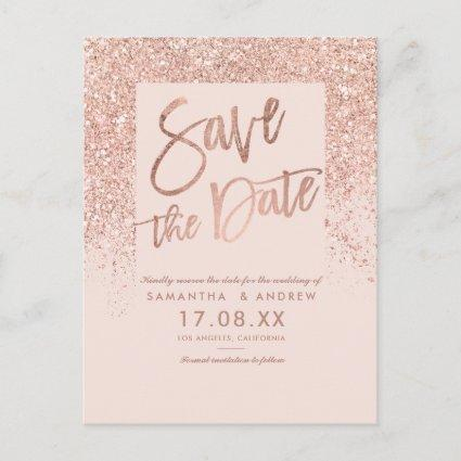 Rose gold glitter chic blush pink save the date announcement