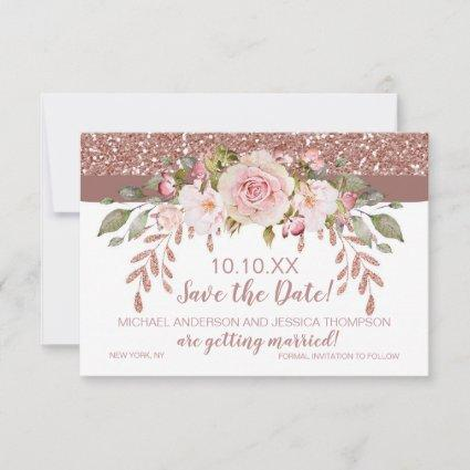 Rose Gold Glitter Floral Save the Date