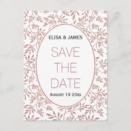 Rose gold glitter leaves wedding Save the Date Announcement