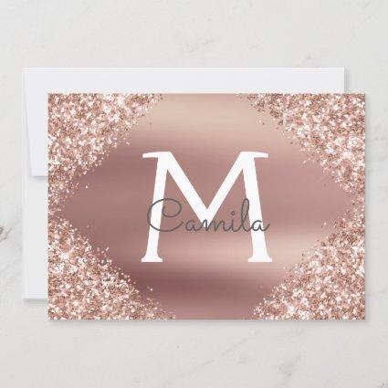 Rose Gold Glitter Quinceanera Save the Date