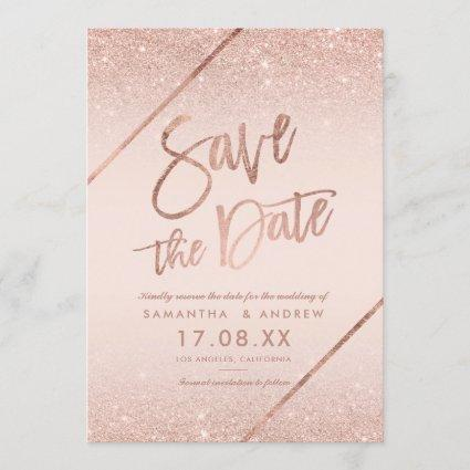 Rose gold glitter script blush pink save the date