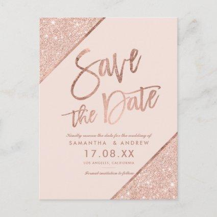 Rose gold glitter script blush pink save the date announcement