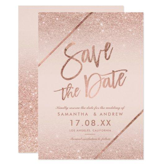Rose gold glitter script blush pink save the date card