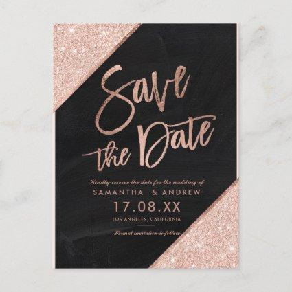 Rose gold glitter script chalkboard save the date announcement