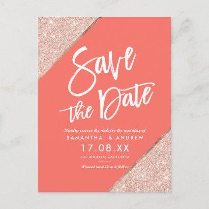 Rose gold glitter script coral save the date announcement