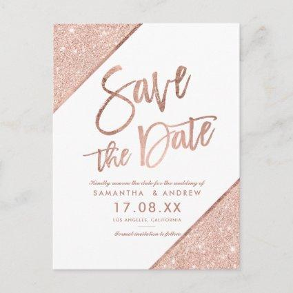 Rose gold glitter script dark white save the date announcement