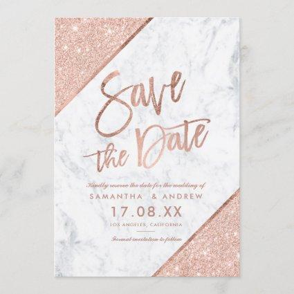Rose gold glitter script marble save the date