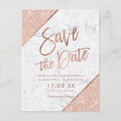 Rose gold glitter script marble save the date 2 announcement