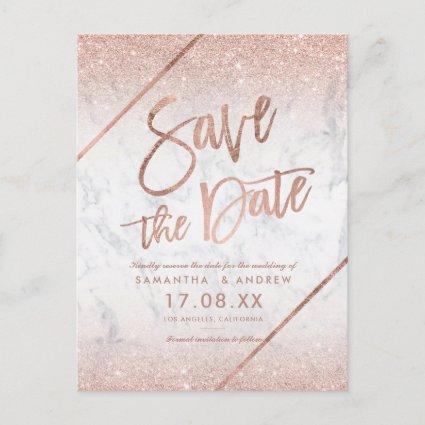 Rose gold glitter script marble save the date announcement