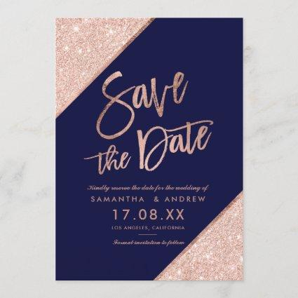 Rose gold glitter script navy blue save the date