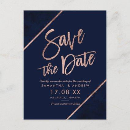 Rose gold glitter script navy blue save the date 2 announcement
