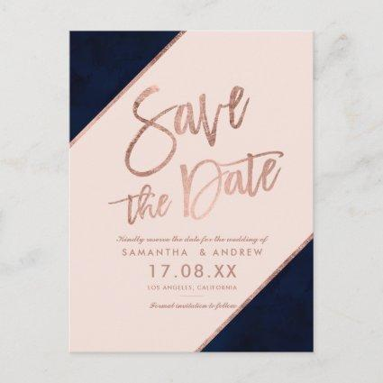 Rose gold glitter script navy blue save the date announcement