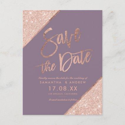 Rose gold glitter script purple save the date announcement