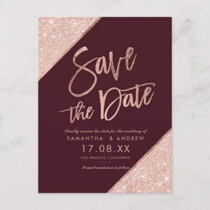 Rose gold glitter script red marsala save the date announcement