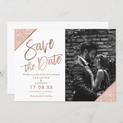 Rose gold glitter script white photo save the date